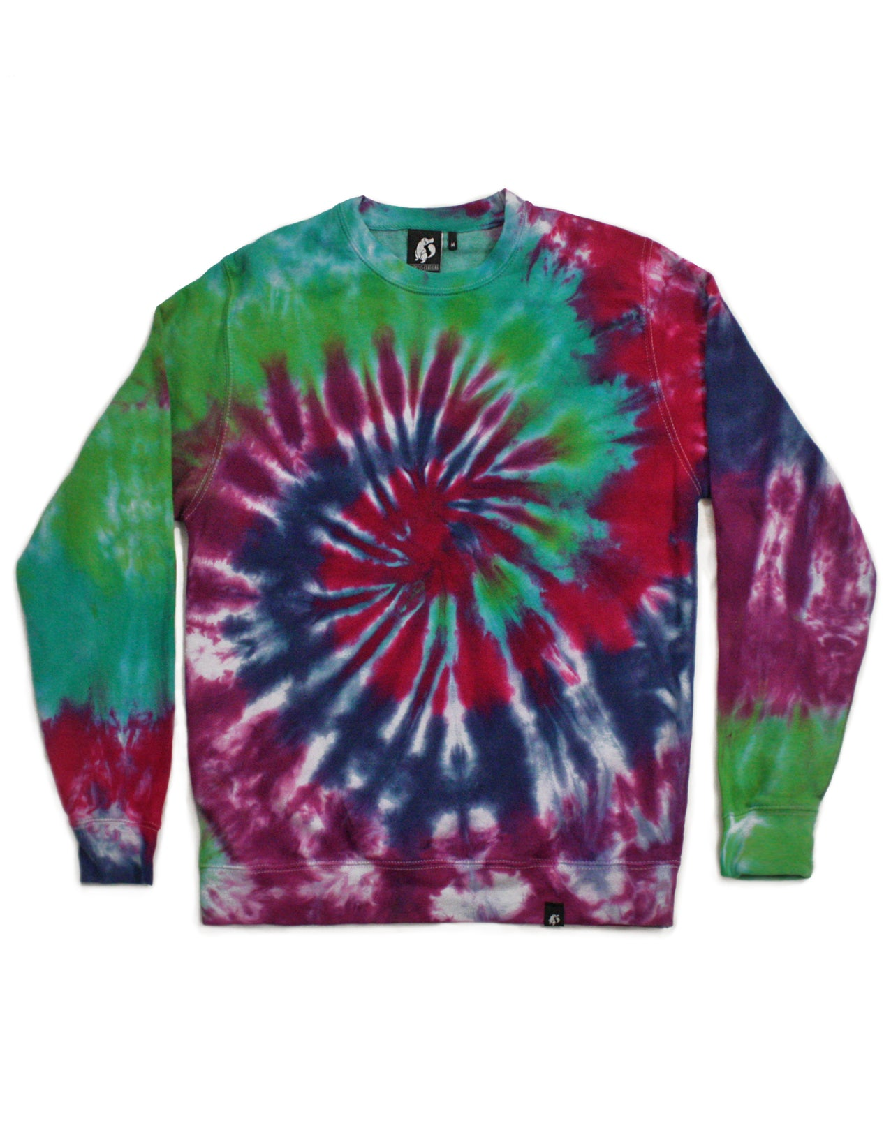Tie Dye Rainbow Purple and Turquoise Spiral Sweatshirt - Size M