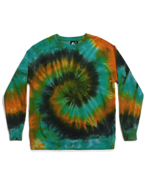 Tie Dye Blue, Yellow and Charcoal Spiral Sweatshirt - Size L