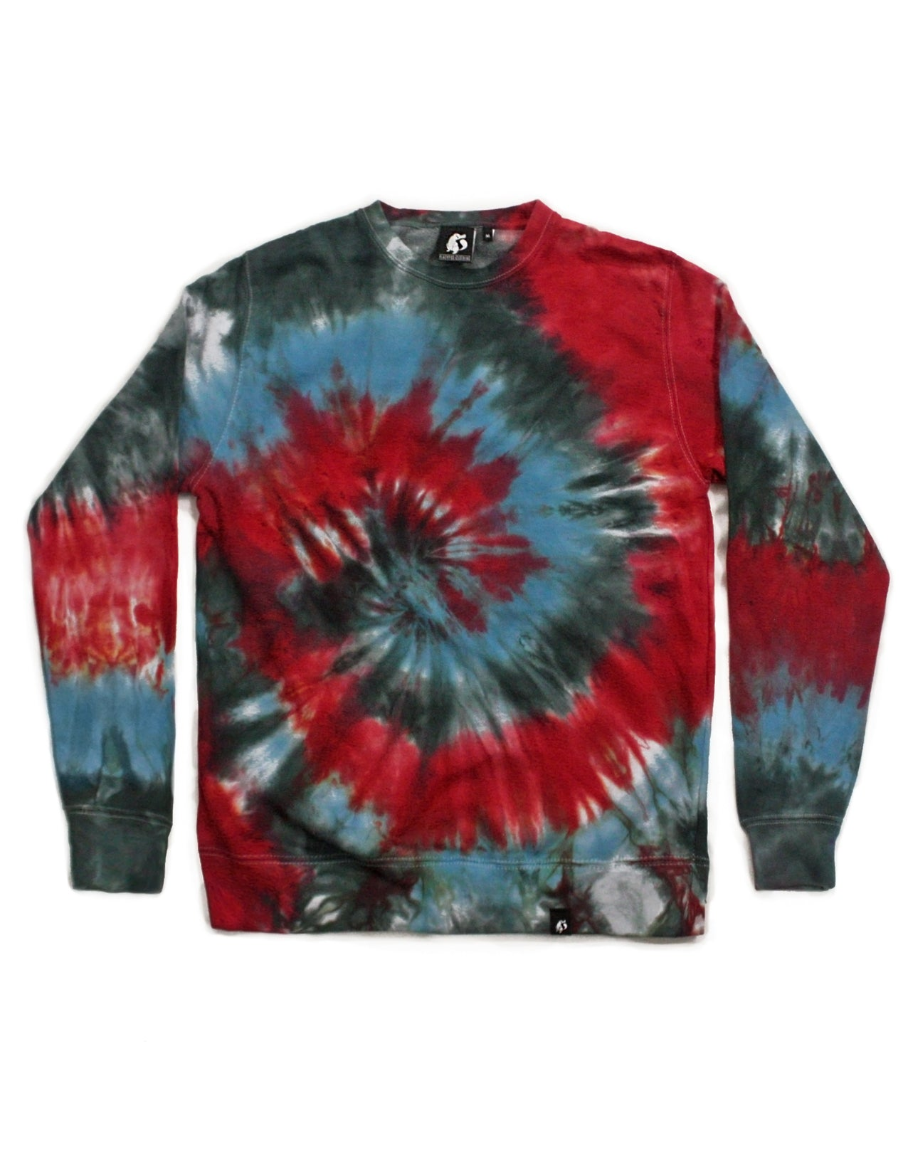 Tie Dye Blue, Red and Charcoal Spiral Sweatshirt - Size S