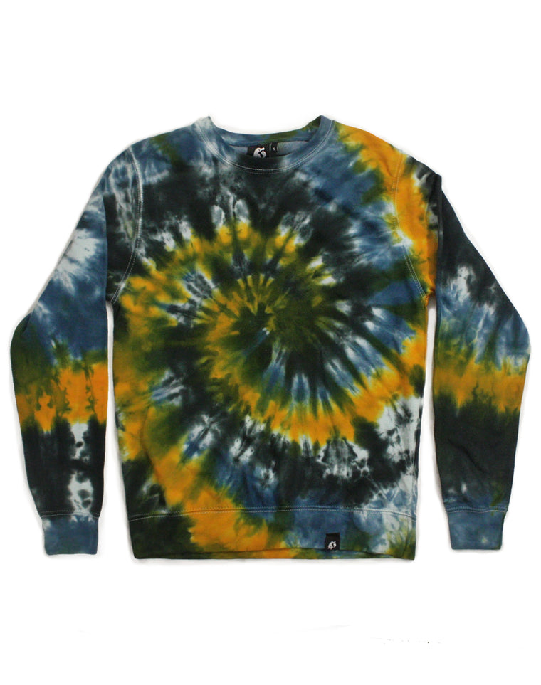 Tie Dye Blue, Charcoal and Yellow Spiral Sweatshirt - Size S