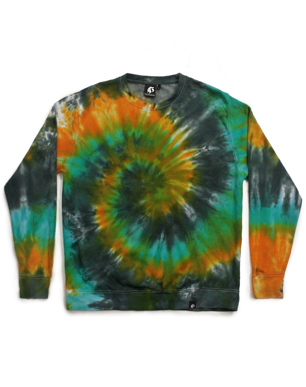Tie Dye Yellow, Charcoal and Blue Spiral Sweatshirt - Size L