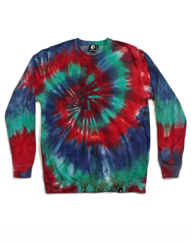 Tie Dye Red and Blue Spiral Sweatshirt - Size XL
