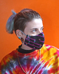 Independent fashion brand retro games pattern uk fitted face masks