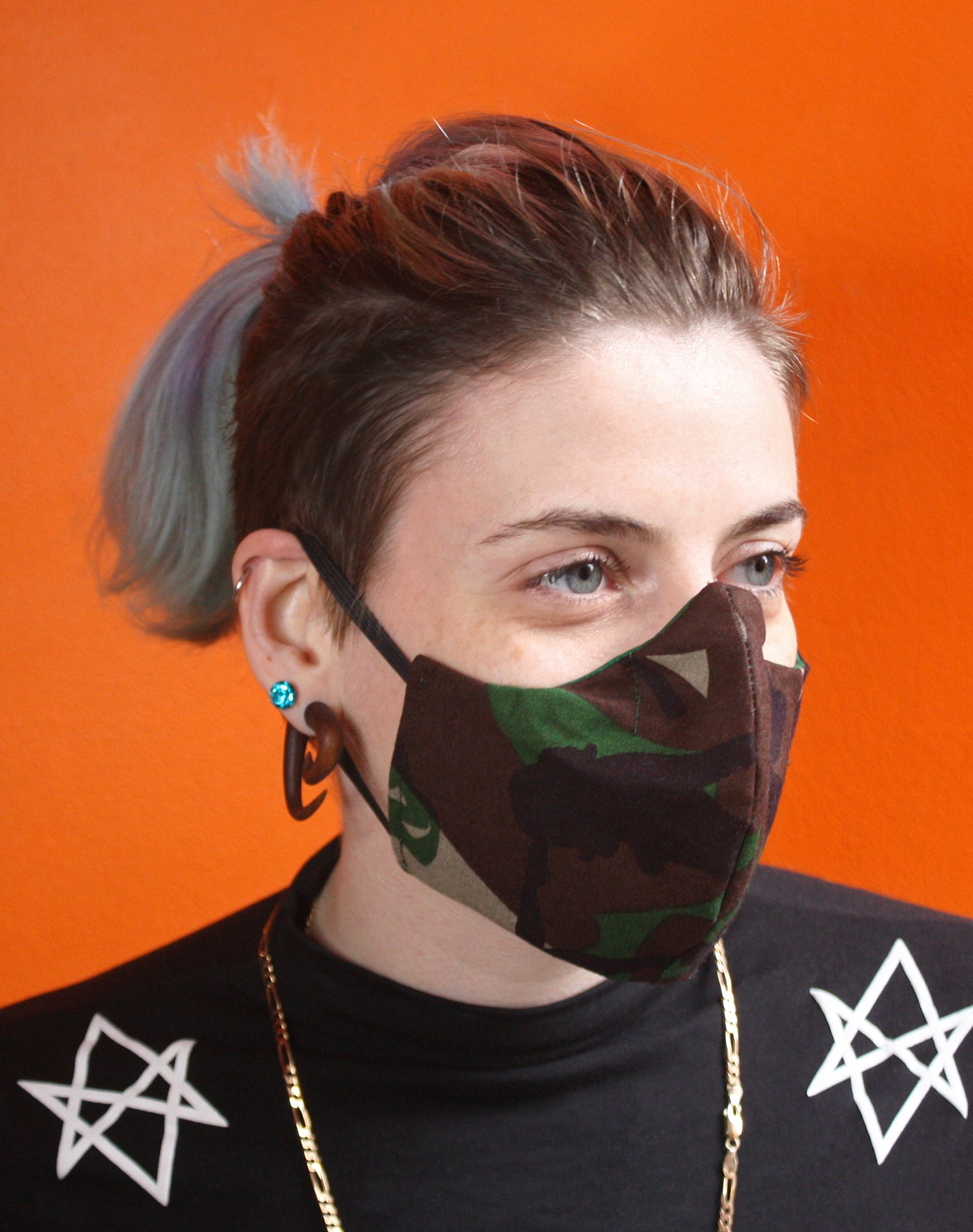 Unisex camo ladies cotton face mask on women