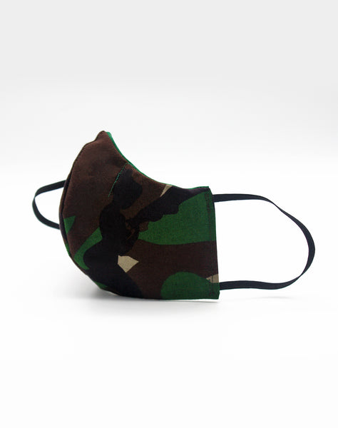 side view of fitted camo mask on Platypus Streetwear