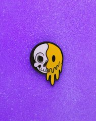 acid lsd skull cartoon smiley face enamel pin badge by Maxine Abbott