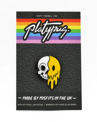 Platypus packaging 90s rave acid house skeleton cartoon smiley face art enamel pin badge