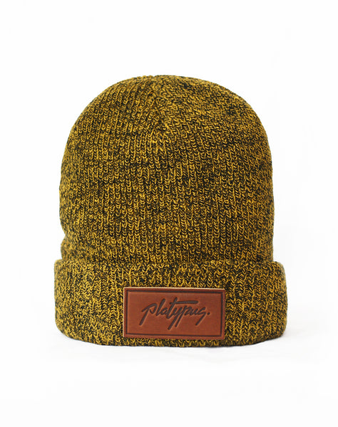 Platypus leather logo Antique Mustard beanie hat
