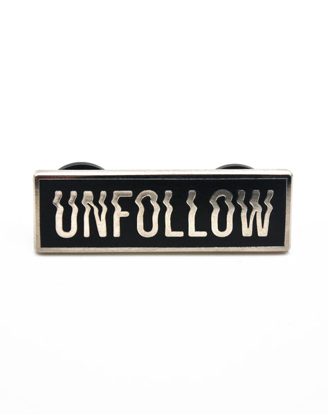 Designer Hard Enamel Unfollow Glitched Type design - Best Art Pin Badges
