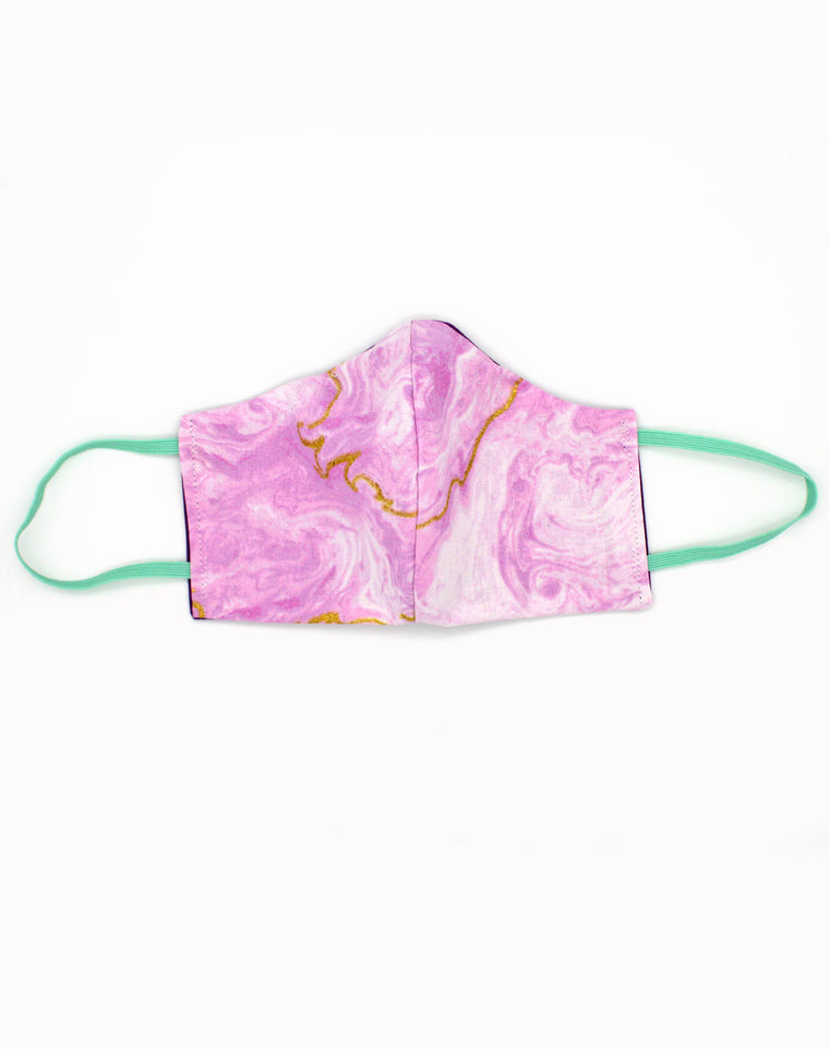 Unisex Pink Marble Luxury Fitted Fabric Face Mask