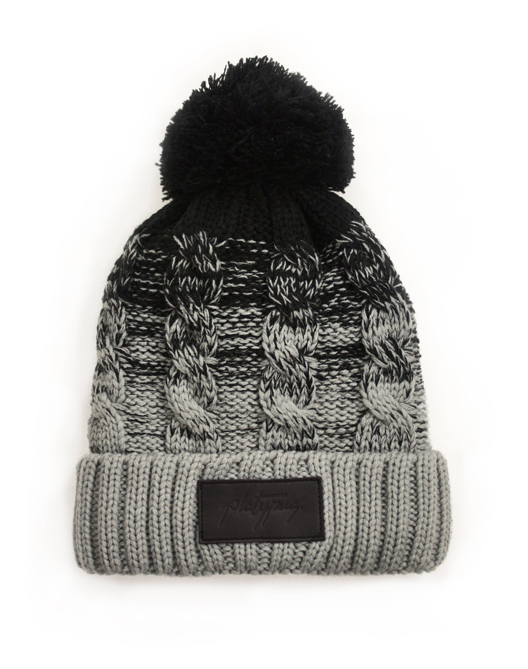 Leather Patch Black   Grey Ombre Knitted Beanie Hat  bbc2e4239742