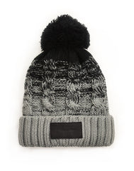 Leather Patch Black & Grey Ombre Knitted Beanie Hat | Free shipping from Platypus UK Streetwear Fashion
