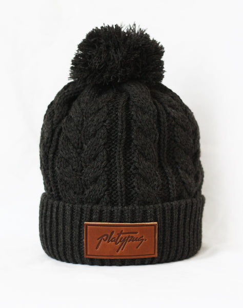 Charcoal Cable Knit Beanie with Platypus leather logo