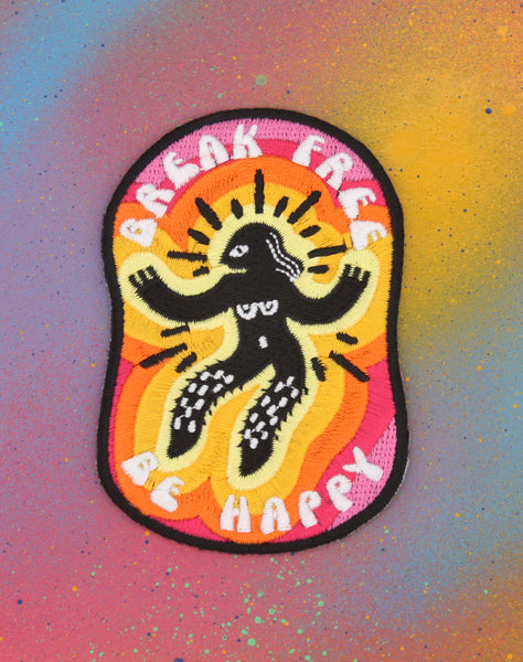 Designer break free be happy rainbow embroidered iron on patch Punk Protest feminism