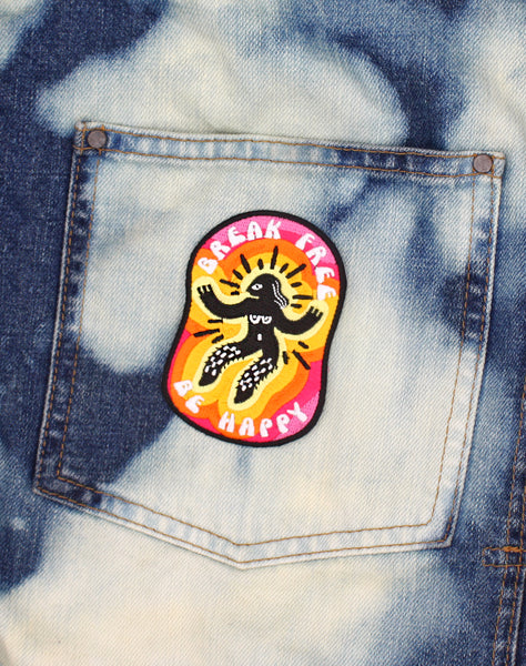 Feminist Break free be happy embroidered-iron-on patch art badges for denim jacket