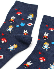 Close up Mad hatter's tea party designer womens socks by joe cool