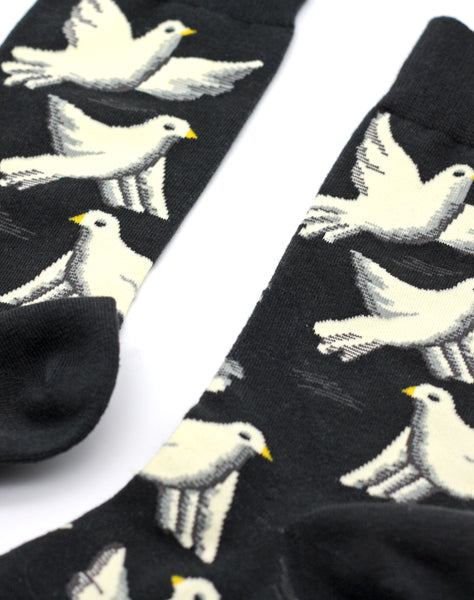 Close up of dove art socks best independent accessory brand Platypus UK