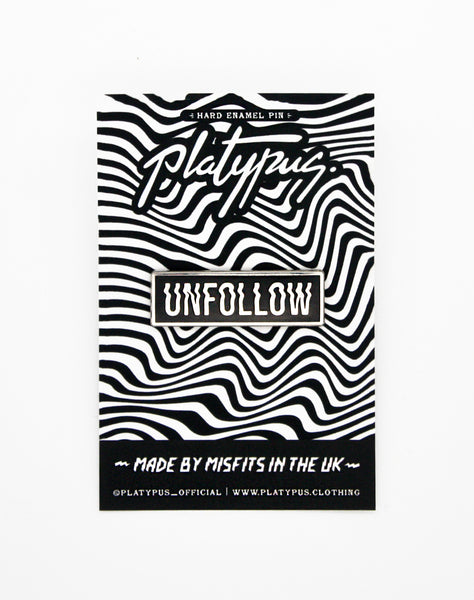 Optical illusion Designer Unfollow Lapel Pin Badge Packaging made in the uk