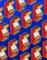 Designer Retro Arcade Game Pin Badge Pattern - Best UK Art Pins