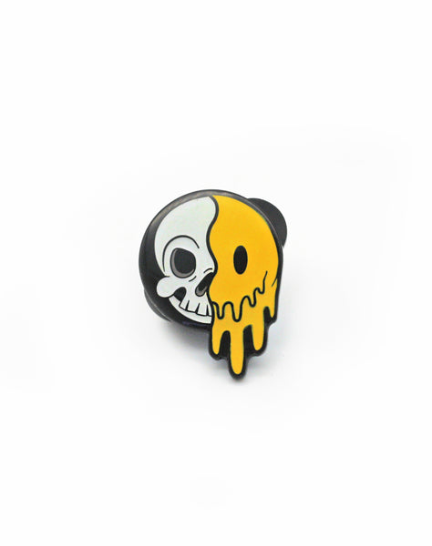 acid goth skull cartoon smiley face enamel pin badge design