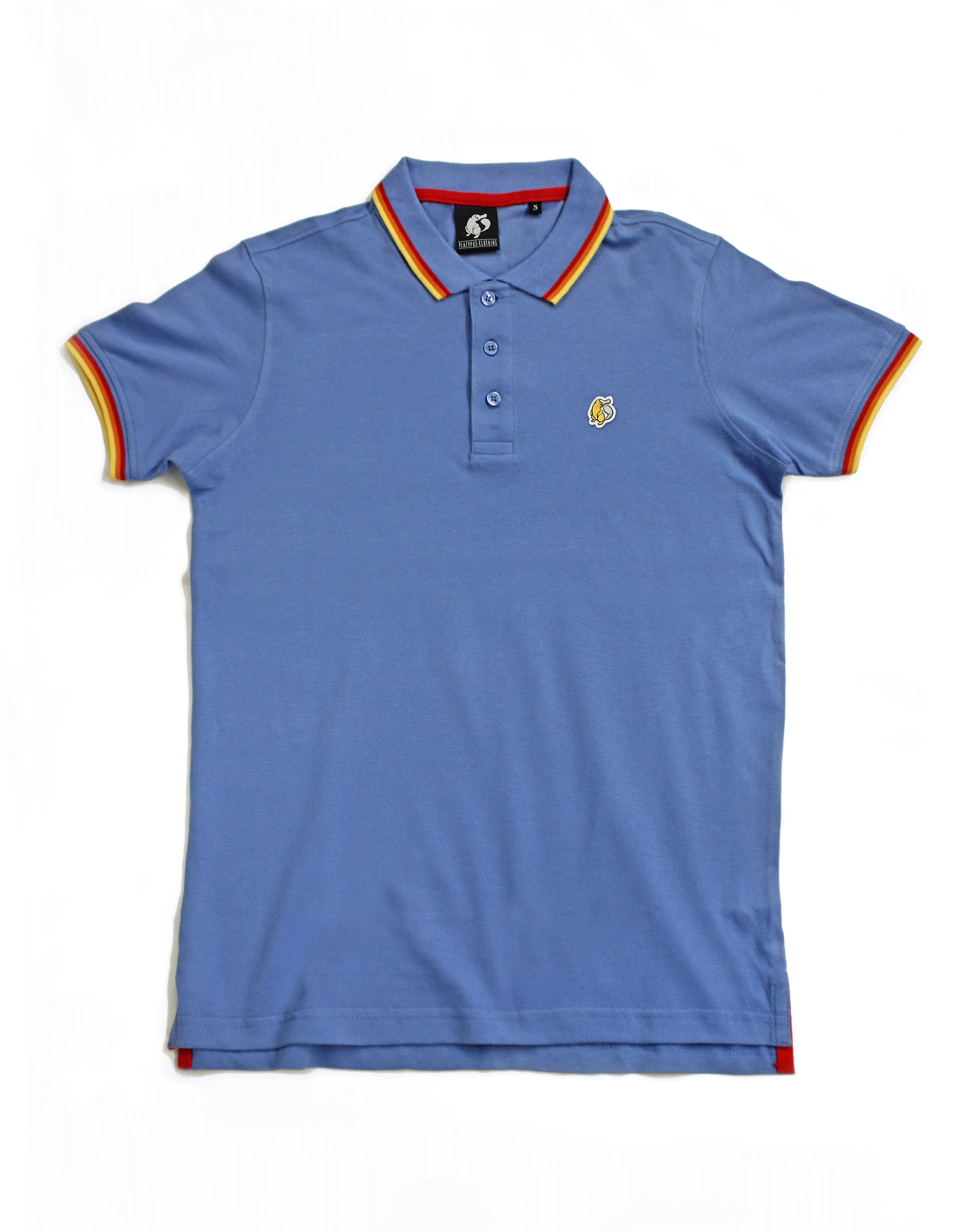 Rainbow Tipped Blue Platypus Emblem Polo Unisex Shirt Hero