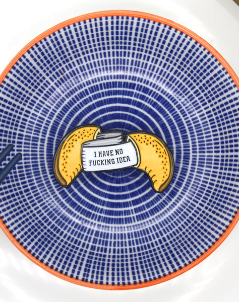 Soft enamel Fortune cookie design on asian style plate by Maxine Abbott