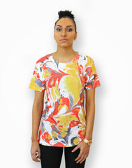 Full printed marble handmade pattern t-shirt with red, yellow & grey.