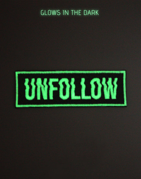 glow in the dark unfollow type designer embroidered iron-on patch at night