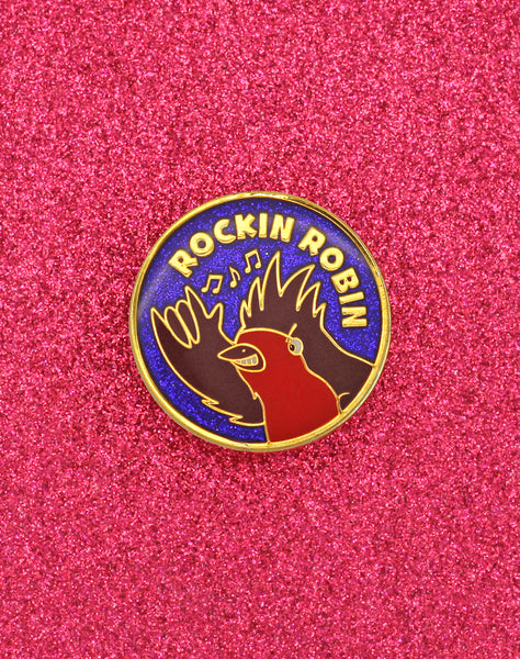 gold rockin robin best glitter enamel pin badge design by Sarah Esau at Platypus