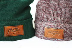 Forest kint and Heather Burgundy Platypus Beanies