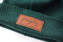 Forest Beanie Leather Close Up