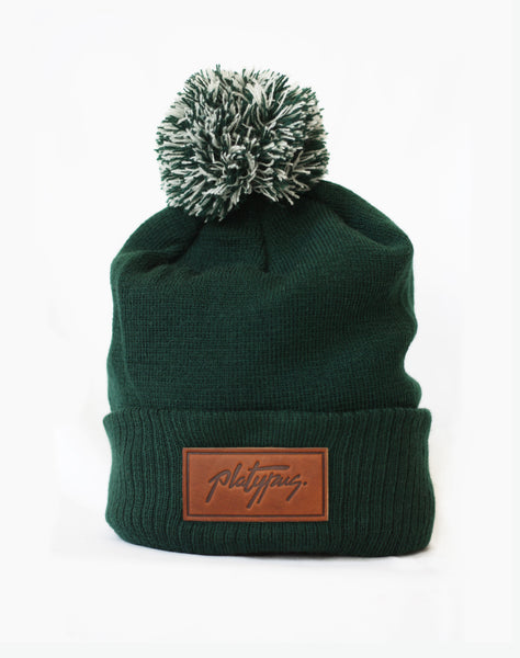 Platypus Big Bobble Forest Leather logo Beanie