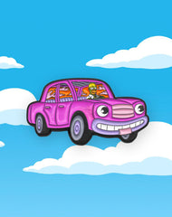 homer simpson driving high car in the clouds enamel pin badge uk