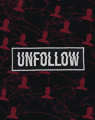 unfollow type designer embroidered iron-on badge hero