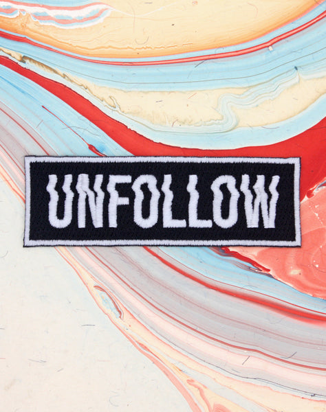Unfollow glitch typography best designer embroidered iron-on badge  patches