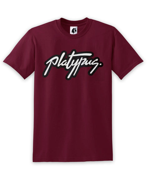 Platypus UK Logo - Maroon T-Shirt | British Clothing