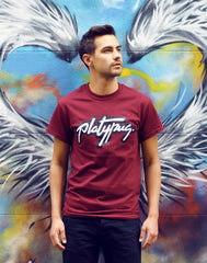 Angel Wings Steet Art Platypus Logo Maroon T-Shirt Image
