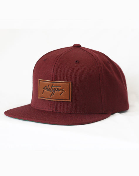 Maroon Platypus Snapback hat Side view