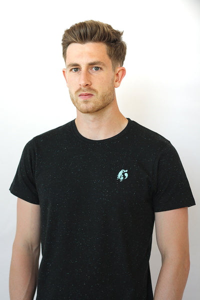 Model Close up of Men's Fleck Emblem T-Shirt by Platypus Clothing