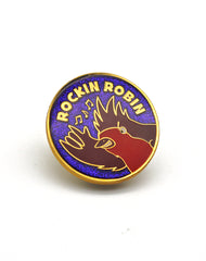 close up of metal rockin robin glitter enamel pin badges uk cute christmas gift