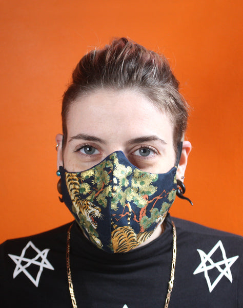 Alternative Unisex Metallic Japanese Tiger Fitted Fabric Masks