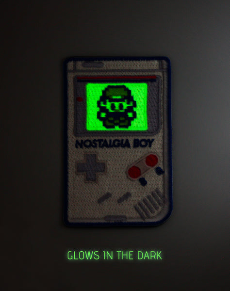 Glow in the dark Nostalgia boy nintendo  game boy parody design Iron-on Embroidered Badge Platypus UK Patch game at night