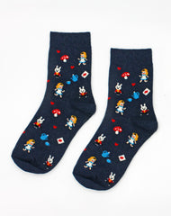 Pair of womens alice in wonderland patterned  socks Platypus UK accessories