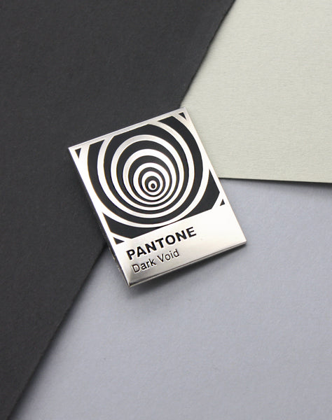 Close up of great graphic design gifts Pantone Parody Art Pin