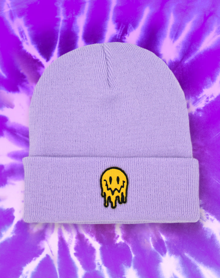Drippy Melting Smiley Face Pastel Purple Beanie Hat