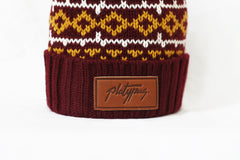 Close up of leather logo Nordic Pattern Knitted Platypus Beanie