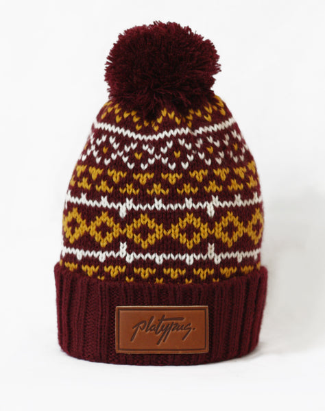 Platypus leather logo Nordic Pattern Knitted Beanie