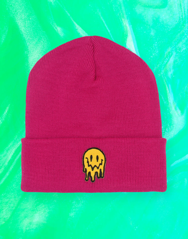 Trippy Melting Smiley Face Pink Beanie Hat