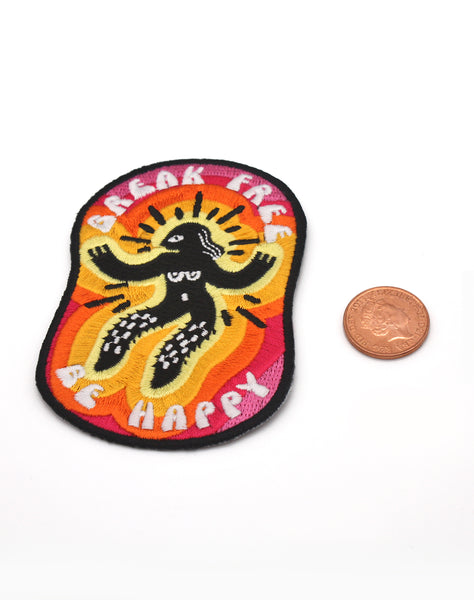 Best Designer patches break free be happy colourful iron on patch punk protest feminism badges uk