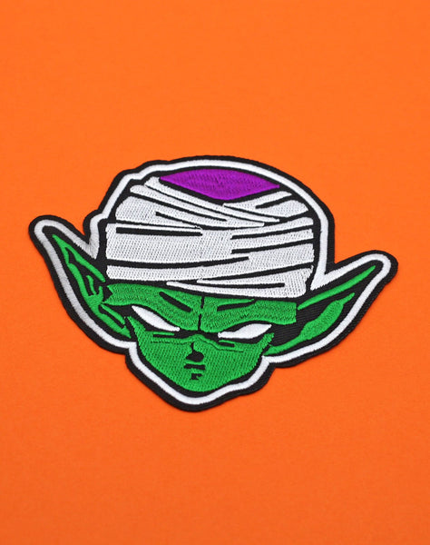 Super Namekian Piccolo Iron-on patch on orange Dragonball z | Best Pins and Patches Platypus Streetwear